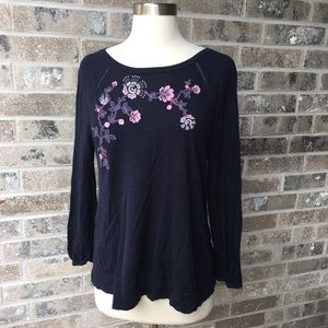 LOFT Sweater Embroidery Applique Keyhole Back Navy